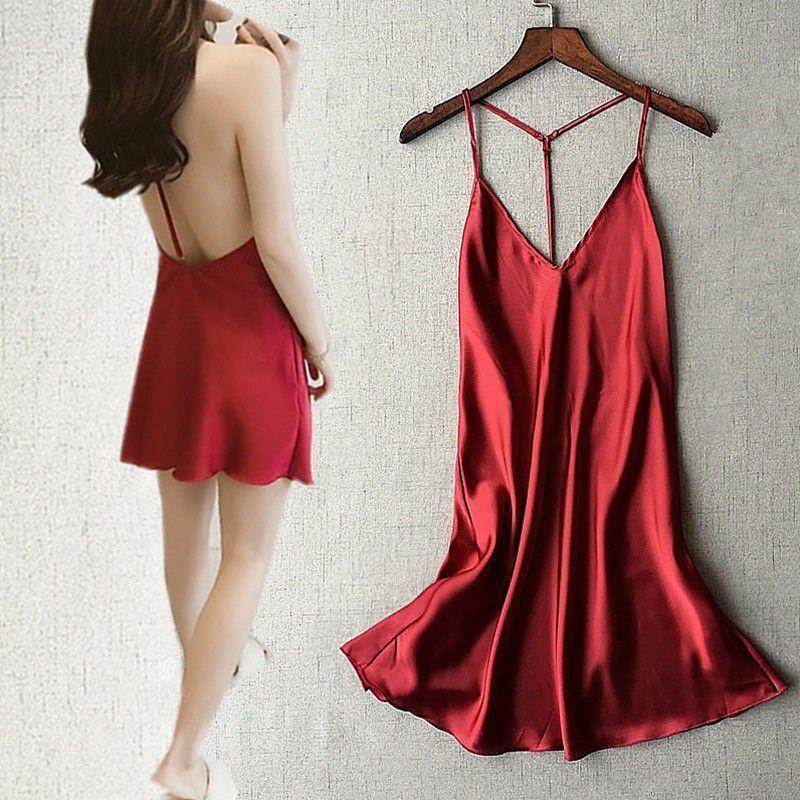 Ropa de dormir Silk Lady's Suspender Pijamas V-NE Open BA Casual Sexy Home Wear