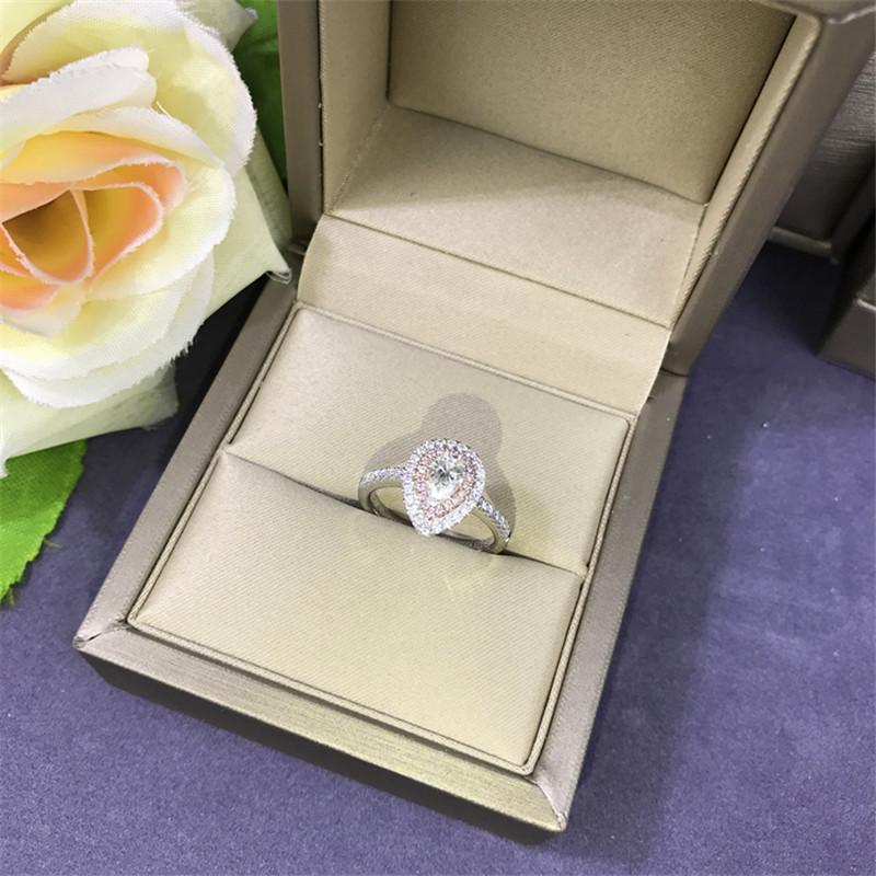 Cluster Rings 100% Original 925 Sterling Silver Diamond Ring Pink Cz Engagement Wedding Band For Women Bridal Charm Party Jewelry