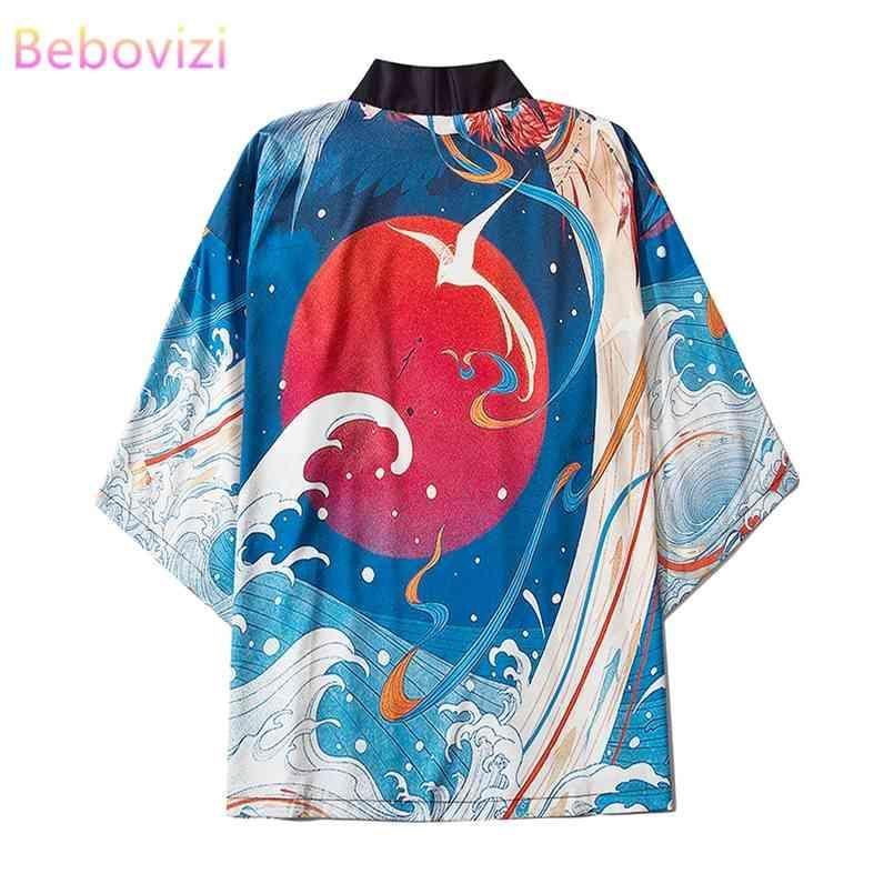 M-XXL Mode rot Sonne Sommer Lose Japanische Samurai Streetwear Strethe Wearan Frauen Männer Harajuku Haori Kimono Cosplay Bluse Yukata 210603