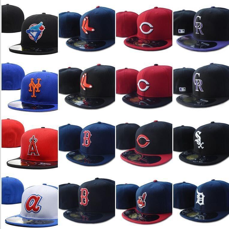 한 조각 모든 팀 팬의 해군 푸른 색 흰색 편지 장착 된 야구 모자 필드 믹스 주문 크기 폐쇄 플랫 빌베이스 볼 SNA