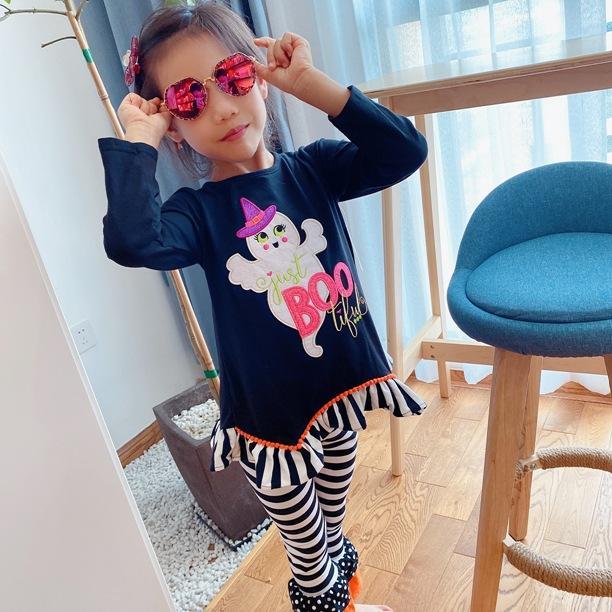 DHL 무료 배송 2018 희귀 한 에디션 8sets / lot 할로윈 의류 호박 T 셔츠와 레깅스 2-8 년 소녀 복장을위한 세트