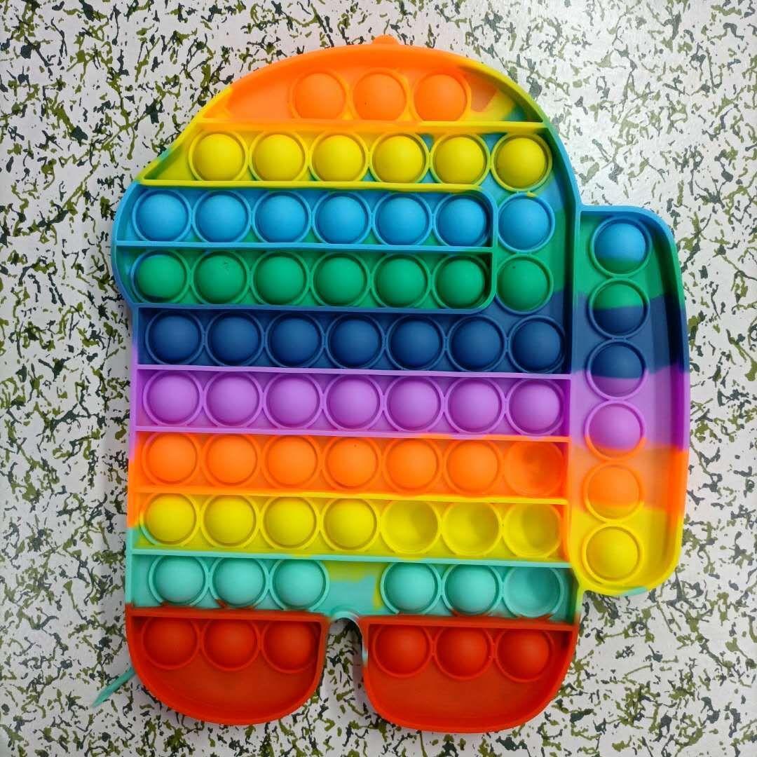 Große Größe 20 cm Tie-Dye Rainbow Push Bubble Zappeln Spielzeug Dekompression Spielzeug Partei Favorie Einfache Grübchen Bodenmatte oder Untersetzer Anti-Stress Relief Geschenk W2