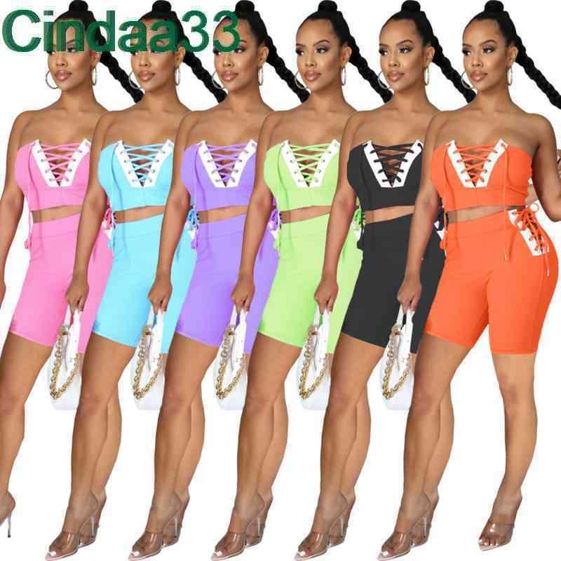 Yaz Kadın Tracksuits Tasarımcı Kapalı Omuz Tüp Üst Şort Bandaj Katı Renk 2 Parça Jogger Setleri Yoga Kıyafetler Artı Boyutu Sportwear