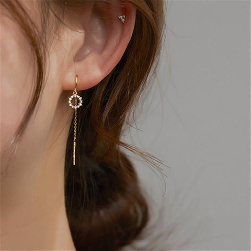 925 Sterling Sier Crystal Round Long Chain Study Earring for Women Maids Brilliant Jewelry Pendants Accessories Eh1426