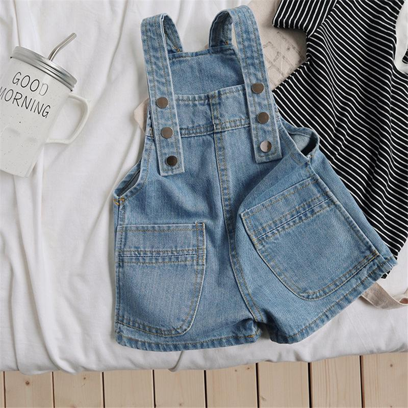 Girls Boys Denim Overalls Shorts Pants Baby Kids Jeans Casual Pant Children Clothes