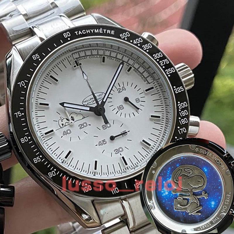 Yüksek Kaliteli Erkekler Erkek Lüks İzle Seramik Çerçeve Snoopy Chronograph VK Quarz Hareketi Master Kumaş James Bond 007 Saatler Montre de Luxe Uzay Saatı