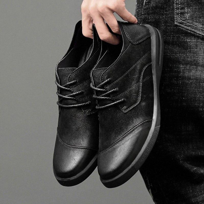 Hombres de alta calidad zapatos de cuero genuinos de primavera al aire libre otoño moda hombres mocasines zapatos transpirable luz bote * 9310 O6He #