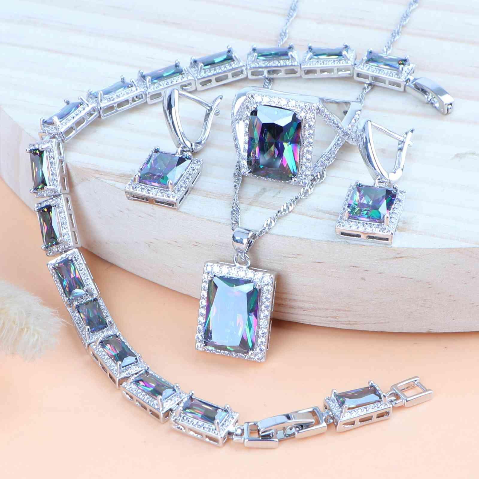 Kadın Kostüm Zirkonya Gelin Takı Düğün 925 Ayar Gümüş Mücevherat Kolye Bilezik Yüzük Küpe Kolye Setleri