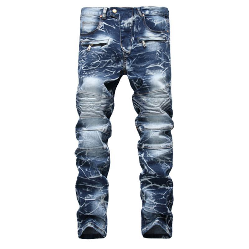 Jeans masculinos skinny homens runway slim racer motociclista alongamento hip hop para calças de denim calças robin homme