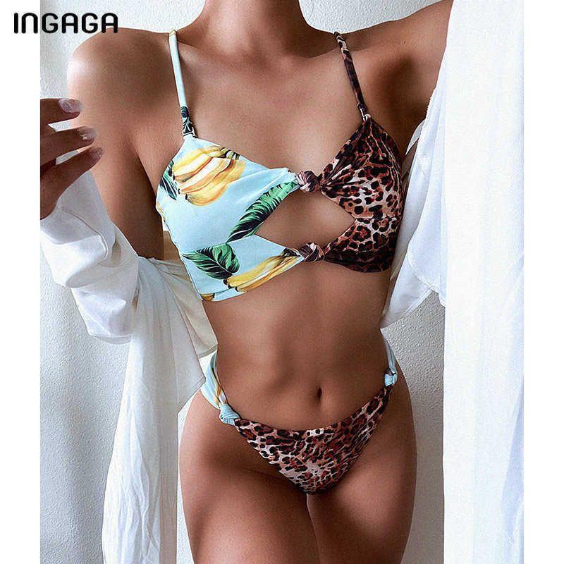 INGAGA Sexy Bikini 2021 Women's Swimsuits Patchwork Swimwear Cut Out Bikinis High Cut Bathing Suits Leopard Biquini Beachwear