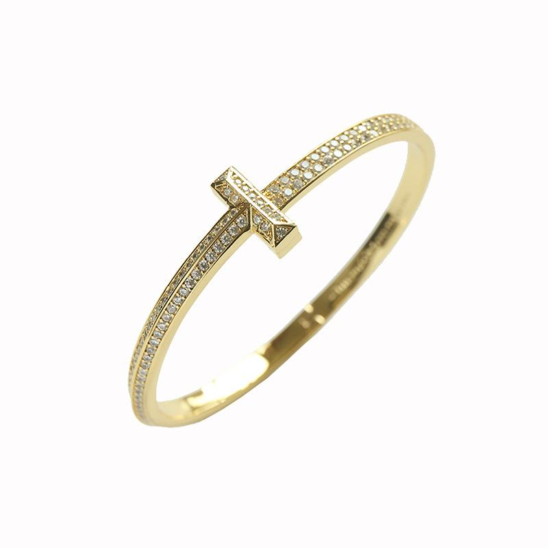 Fashion Simple Titanium Stainless Steel Link Chain Unisex Double T-shaped Full Diamonds Snap Bracelet with Copper Micro-inlaid & Gold-plated Jewelry Gifts([Box)