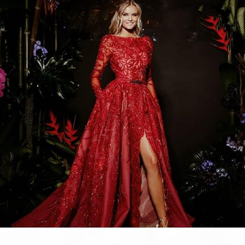 Gorgeous Red Formal Evening Dresses A-Line Long Sleeve Lace Appliques Red Carpet Dress Charming Dubai Sash Side Slit 2018 Prom Dresses