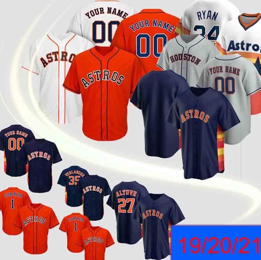Men Astros Jersey 2 Alex Bregman 27 Jose Altuve 5 Jeff Bagwell 7 Craig 4 George Springer custom baseball jerseys top