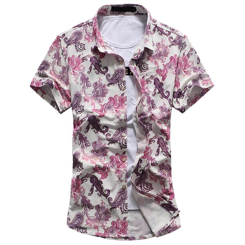 Camisa para hombres impresos Manga corta Hawaiian Niza Moda de verano Floral Casual Slim Fit Plus Tamaño 7XL Camisetas Masculinas Hombres