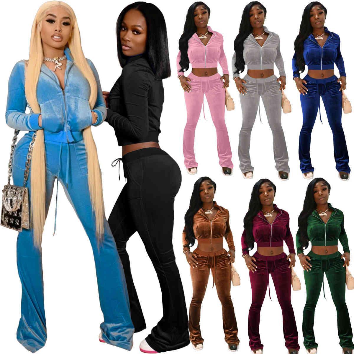 Donne Velluto Tute Tracksuits Sport Solido 2 Abiti a due pezzi Due abiti Pink Velor Sweatsuits Zipper Pocket Giacca a maniche lunghe + Campana Wid Leg Pant Set