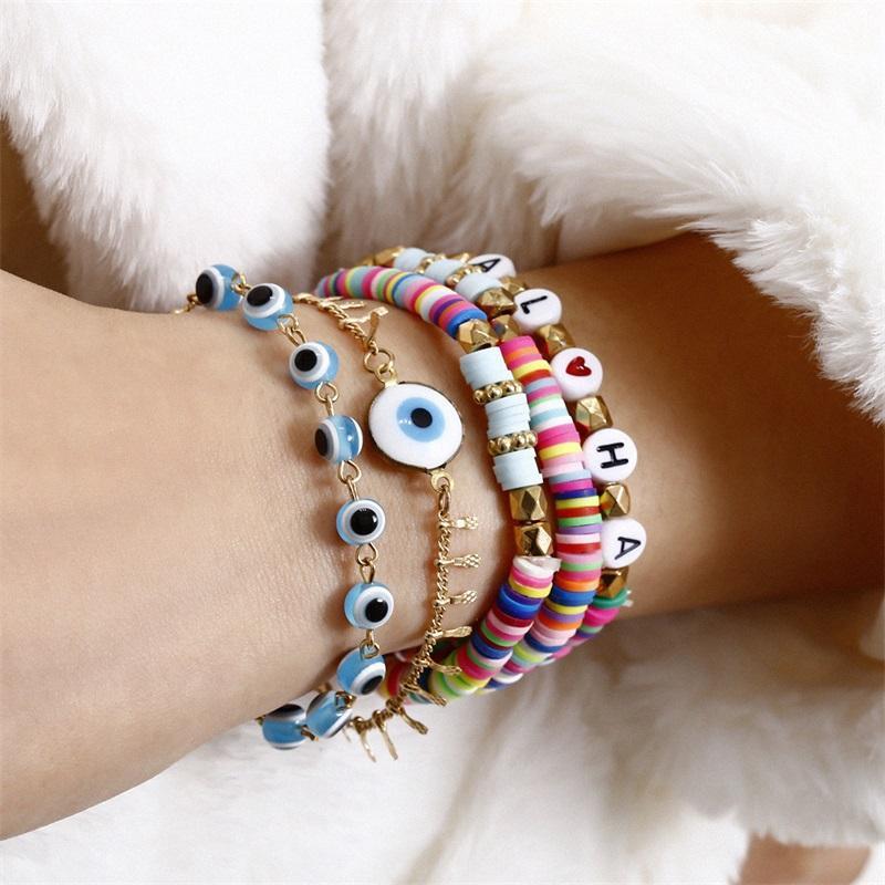 5pcs / 세트 푸른 악마의 눈 매력 팔찌 여성을위한 무지개 편지 구슬 팔찌 세트 패션 쥬얼리 1 798 Q2