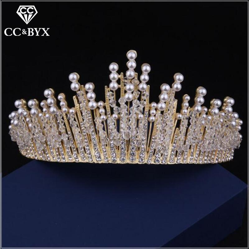 Hair Clips & Barrettes Tiaras And Crowns Hairband Luxury Pageant Crystal Rhinestones Pearl Bridal Wedding Accessories For Bride Jewelry X
