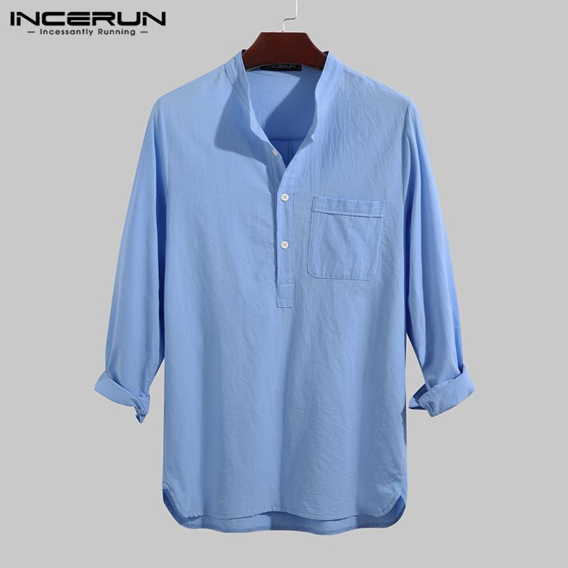 Feste Farbe Baumwolle Männer Hemd Marke Langarm Herbst Harajuku Stehkragen Tops Freizeit Streetwear Casual Camisas 2021 Herrenhemden