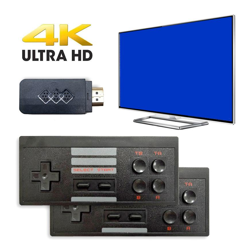 HD 4K Ultra HDTV Video TV Game Console Built-818-in Retro Classic Games Players with 2 Wirless Gamepads for FC Simulator Support TF Card