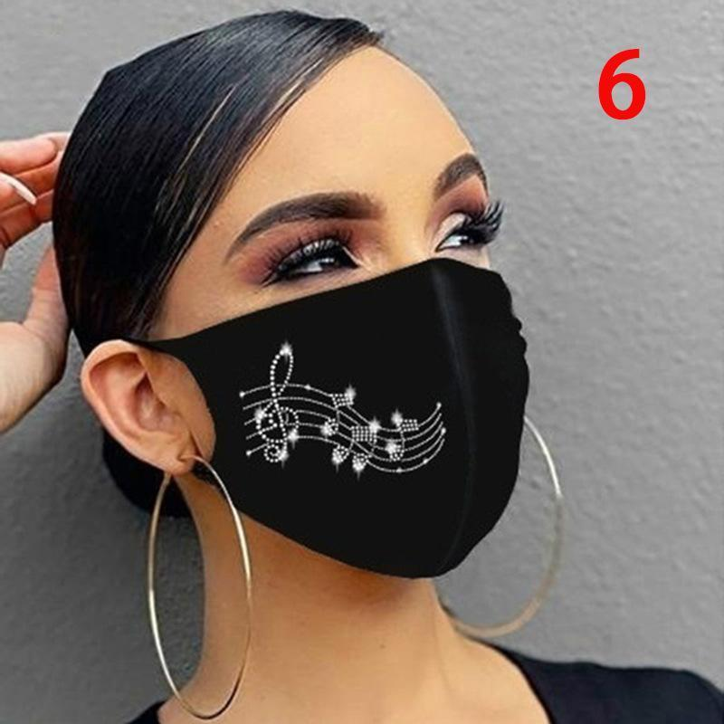 패션 스파클링 라인 석 여성 쥬얼리 탄성 디자이너 마스크 마술 스카프 재사용 가능한 빨 수있는 얼굴 마스크 두건 모자