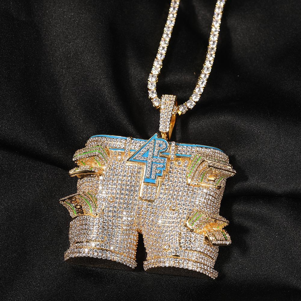 Big 4PF Pantalons Dollars Micro Pompant Pendentif Colliers 3A + Cubic Zirconia Bling Collier de pendentifs glacé pour hommes Rapper Hip Hop bijoux