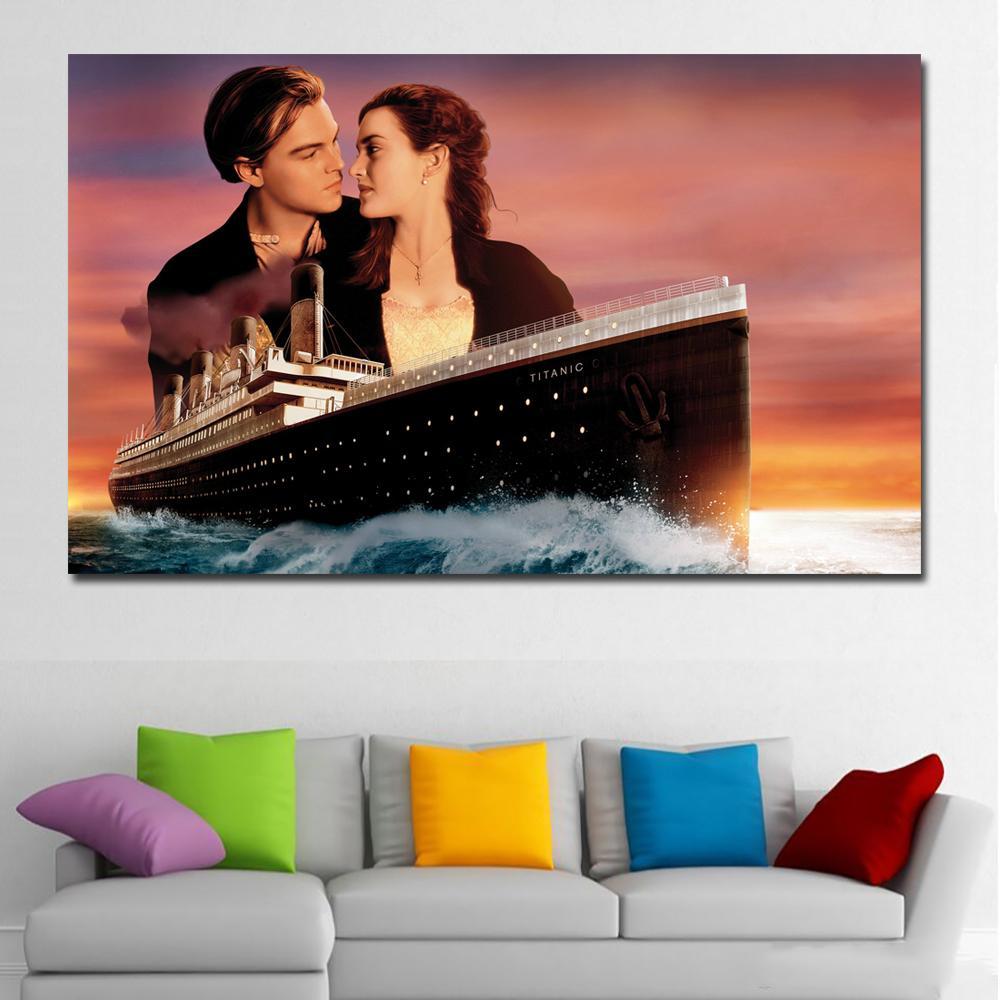 Кейт Уинлет Леонардо Дикаприо Титаник Холст Художественная печать Холст Живопись Домашняя Оформление Настенная картина для гостиной