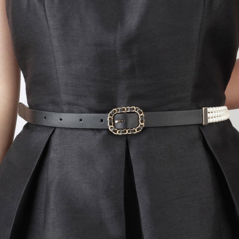 Cinture Est Fantaisie Classico in pelle metallica in pelle perla cintura perla catena color oro per le donne party di alta qualità Bijoux