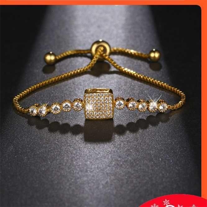 Micro embutido quadrado zircon pulseira feminina simples jóia ajustável moda zíper