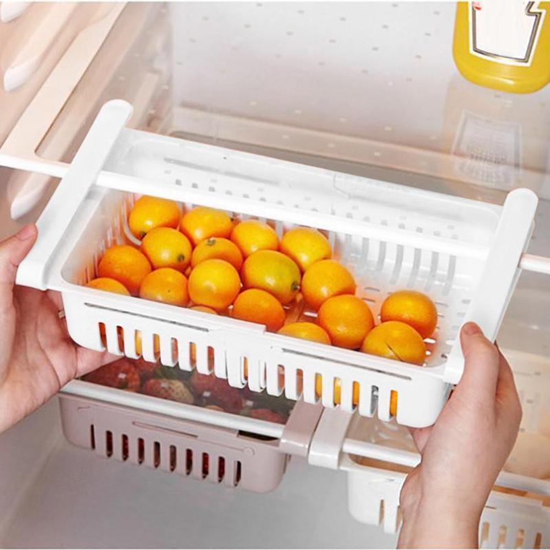 Verstellbarer Küchenorganisator Kühlschrank Lagergestell Kühlschrank Gefrierfach Regalhalter Pull-Out-Schublade Organizer Raumschoner Körbe