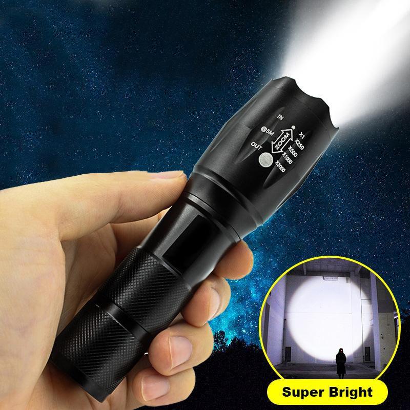 LED El Feneri Ultra Parlak Torch T6 / L2 Açık Havada Su Geçirmez Yakınlaştırılabilir Şarj Edilebilir 18650 Pil Fenerleri Yürüyüş Kamp Işık