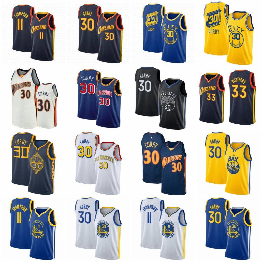 """خمر ستيفن 30 كوري مدينة كرة السلة جيرسي الذهبي """"ولاية"""" المحاربين """"مدينة جيمس 33 Wiseman Klay 11 Thompson أكمام الأزرق الأبيض الرياضي قميص الفانيلة"""