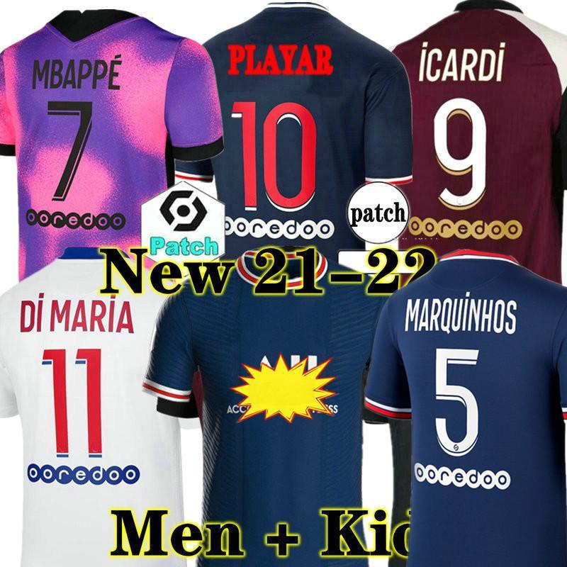 Maillots De Futbol Kitleri 21 22 Futbol Formaları 4th 2021 2022 MBappe Icardi Neymar Gömlek JR Erkekler Çocuk Setleri Maillot Ayak Hommes Enfants