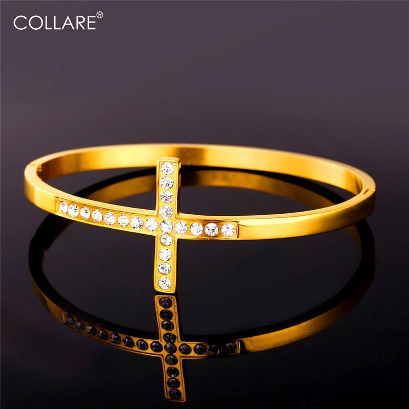 Collare Sideways Kadınlar Için Çapraz Bileklik Rhinestone Kristal Takı 316L Paslanmaz Çelik Altın / Gümüş Renk Hıristiyan Bilezik H210