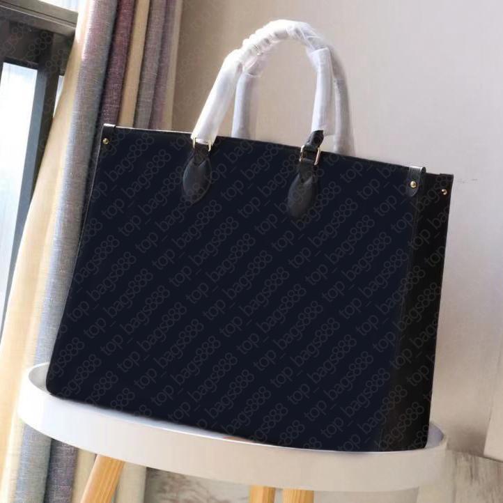 Designer Womens Handtaschen Alle schwarzen Buchstaben Geprägte Totes Handtasche Top Qualität Rindsleder Echtes Echtleder High-End-Mode-Handtasche Onthego-Tragetaschen