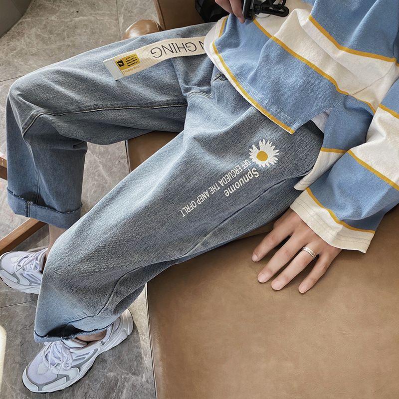 Perth Fashion Brand Daisy Jeans Hombres guapos para hombres Estudiantes coreanos para jóvenes Pantalones rectos sueltos