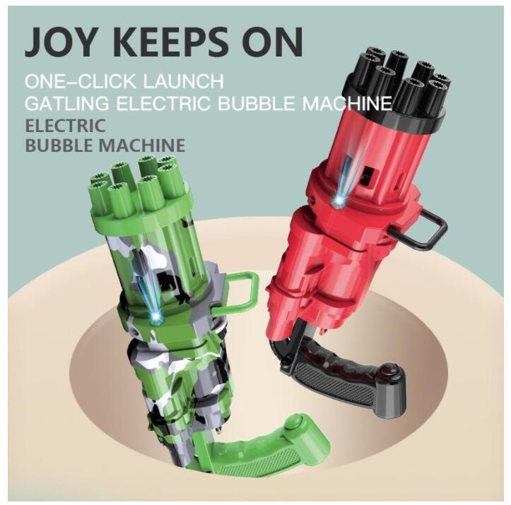 DHL Kids Automatic Gatling Bubble Gun Juguetes Jabón de verano Máquina de agua 2 en 1 Eléctrico para niños Regalo FY4627 CM31