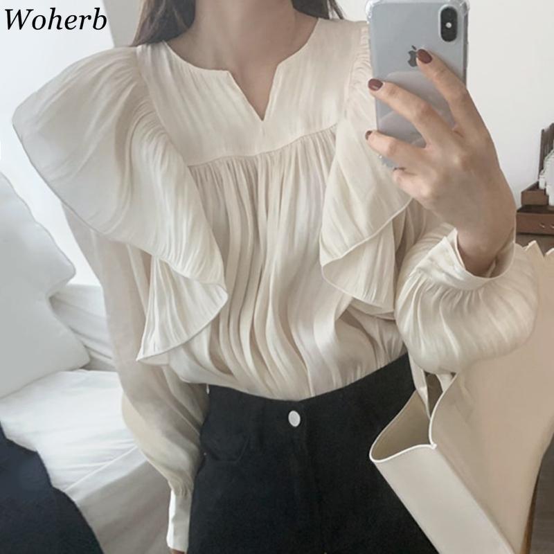 Blusas Mujer de Moda Chemises coréennes Chiques Chicoles O-Cou Souffle Feuil Tempéramament Blouses Femmes Vols plissés Tops Femme 210417
