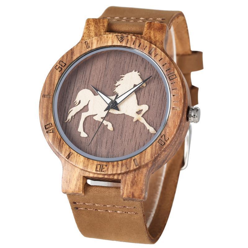المعصم الكلاسيكية الحصان عرض الخشب ووتش للرجال النساء أزياء براون جلد طبيعي رجل الساعات فريد ساعة اليد الرجل ساعة الكوارتز