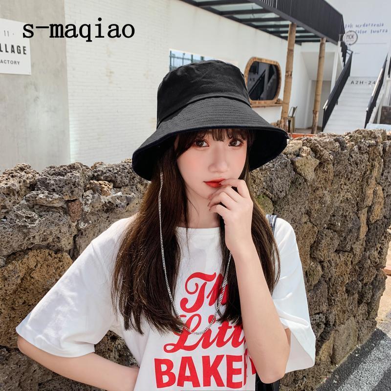 S-MAQIAO الصيف دلو القبعات للطي صياد واسعة بريم الشمس قبعة في الهواء الطلق السفر شاطئ الأزياء سلسلة حوض
