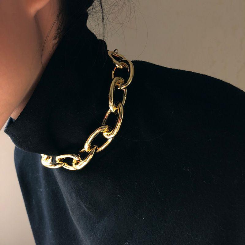 Colares de Cadeia grossa Cubana exagerada para mulheres Moda Vintage Jewelry Declaração Colar Collier Feminino PS0757 416 Q2