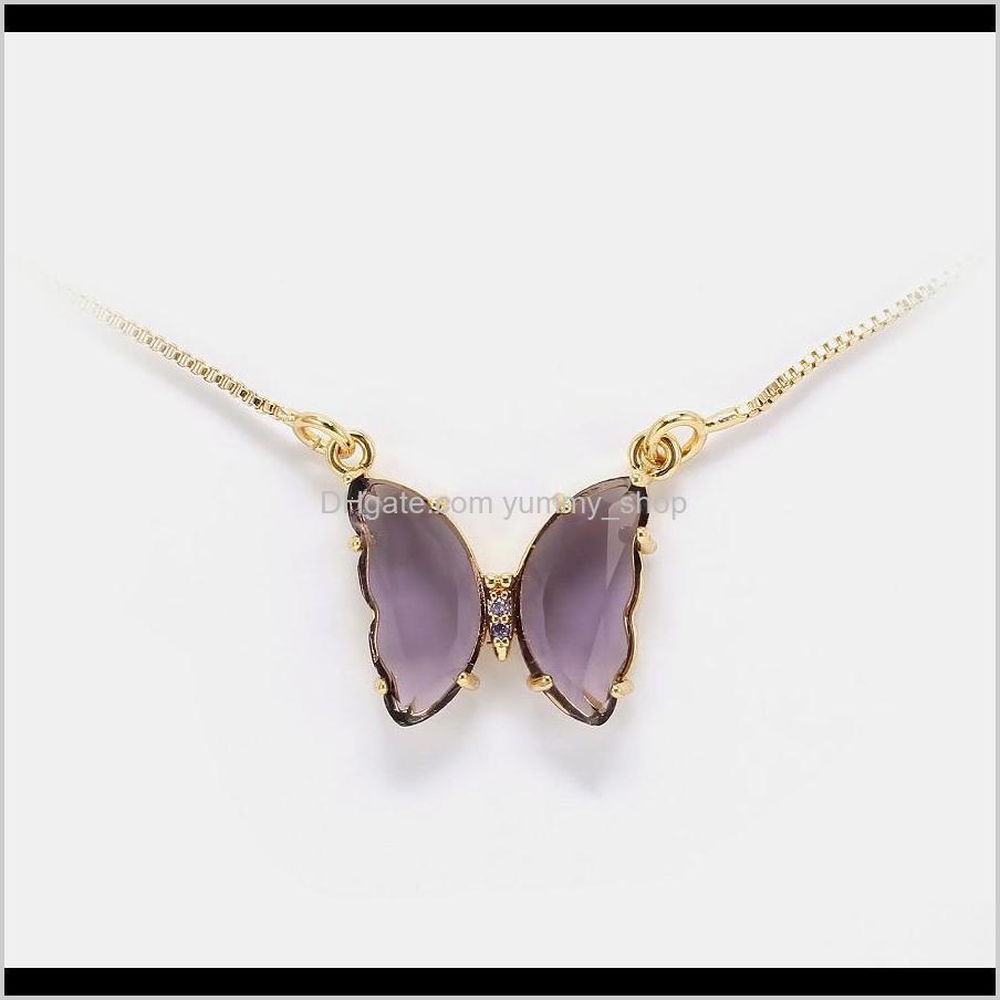 Joyería de lujo Mujer de color púrpura de cristal púrpura de cobre de la mariposa con collares colgantes chapados en oro para niña estilo de moda RUDTM 29C4N
