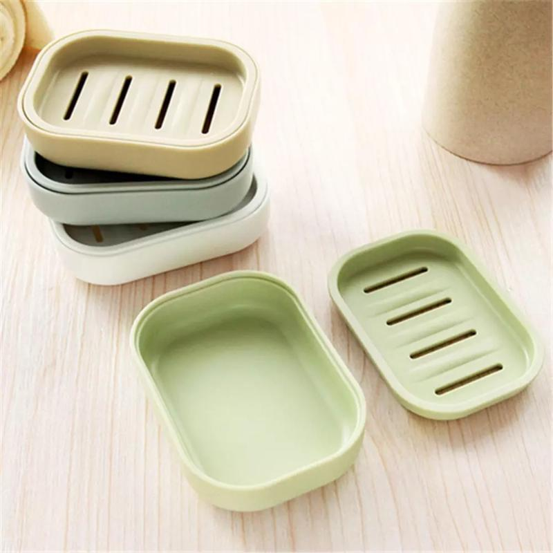 Double Layer Soap Dish With Lid Household Shower Toilet Drain Creative Travel Portable Container Tray Holder Dishes