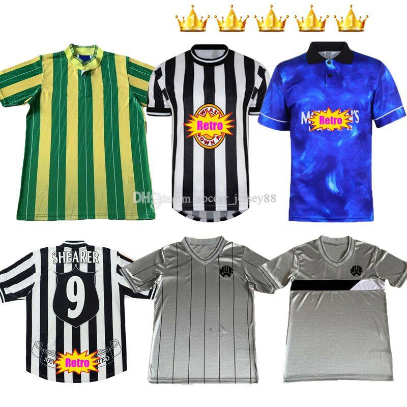 NewC Astle Shearer Retro Soccer Jerseys 84 86 88 94 97 98 99 Hamann Pinas 1984 1986 1988 1994 1997 1999 United Owen Classic Football Shirt