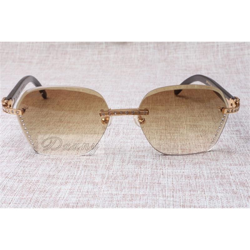 2021 Yeni Stil Yüksek Kalite Trendy Elmas Siyah Sığır Boynuz Güneş Gözlüğü 8100909 Erkek ve Kadın için Gümüş Kahverengi Lens, Boyutu: 60-18-140mm