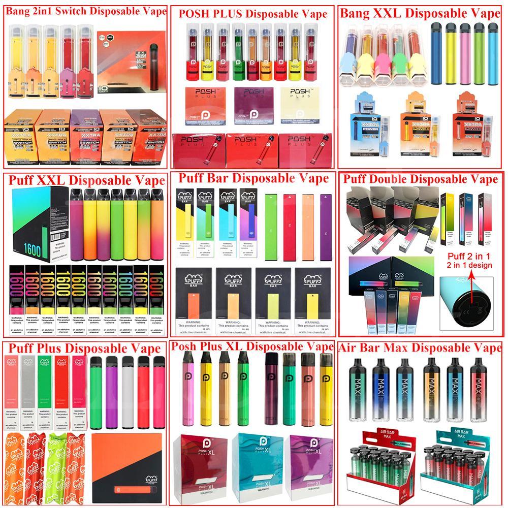 Barra de sopro, mais e-cigarros descartáveis recarregáveis Bang XXL Vape Pen Device Pods 1000 2000 3300 Puffs Pens Vaporizer Cigarros Eletrônicos
