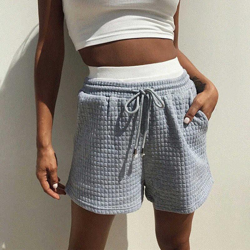 Damen Shorts Fancy Grey Waffel Baumwolle Mischungen High-Taille Beiläufige Sports Weibliche Herbstkabel Streetwear Solide in einer geraden Linie 4QYH