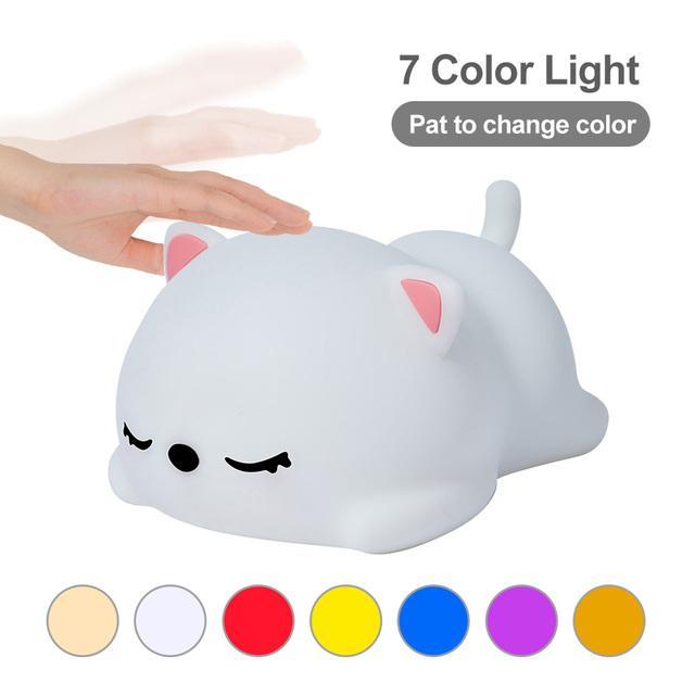 LED Gece Lambası Uyku Kedi Işıkları Renkli Kreş Lamba Silikon Hayvan USB Karikatür Bebek Çocuk Doğum Günü Hediyesi Oyuncak Uzaktan