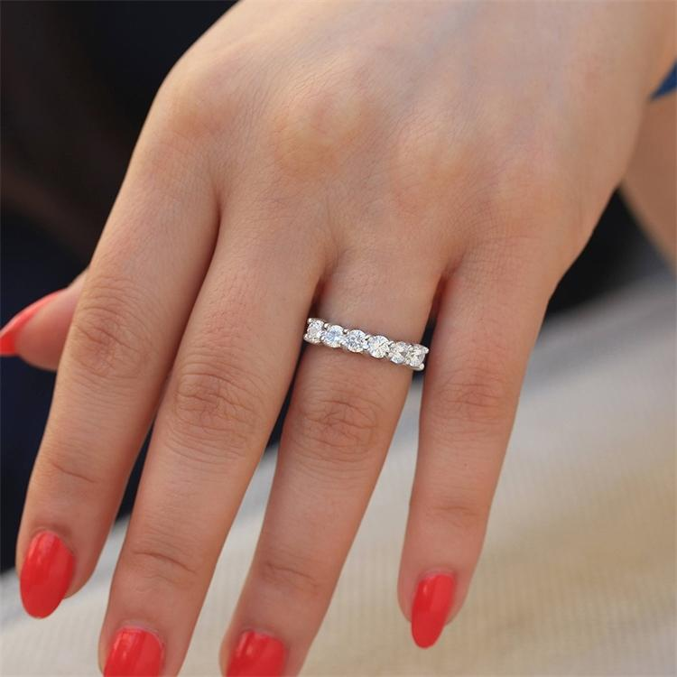 Rings 1.2ctw 3.5mm Df Round Cut Engagement&wedding Moissanite Lab Grown Diamond Band Ring Solid Genuine 9k White Gold for Women