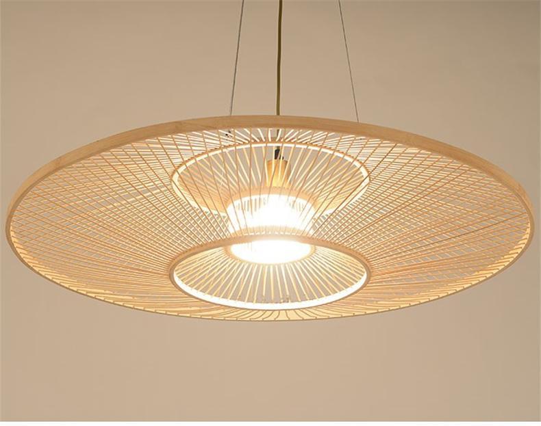 Китайский стиль бамбука подвесные светильники гостиной современный простой ресторан обеденные кухни висит лампы деревянные светильники