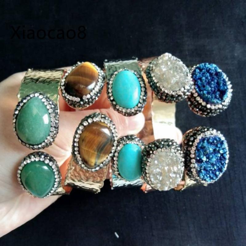 Mix 5Pieces Gold Metal Open Bangles Unisex Nature Stone Bracelets Women Bijoux Femme Could Adjustable Bangle